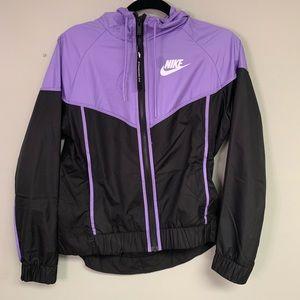 Nike Purple Black Windbreaker Zip Up Jacket Small